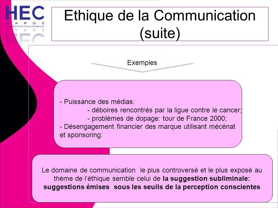 Ethique de la Communication (suite) Exemples - Puissance des médias: - déboires rencontrés par la ligue contre le cancer; - problèmes de dopage: tour