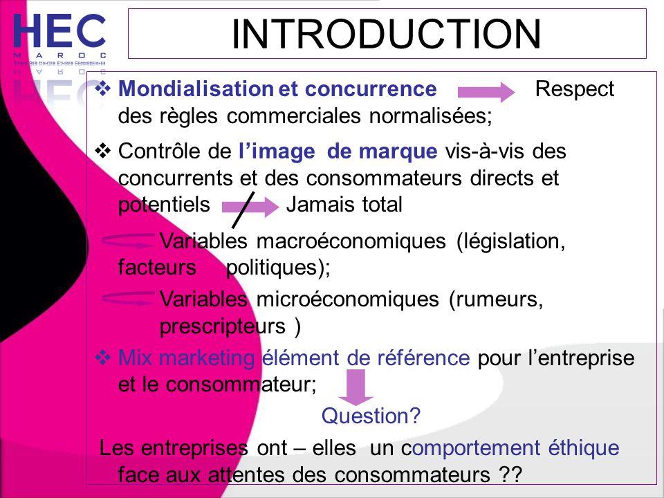 INTRODUCTION  Mondialisation et concurrence Respect des règles commerciales normalisées;  Contrôle de l'image de marque vis-à-vis des concurrents et