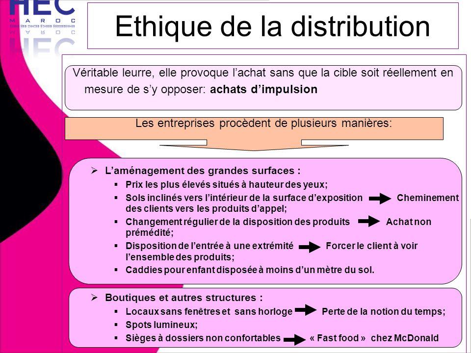Ethique de la distribution Véritable leurre, elle provoque l'achat sans que la cible soit réellement en mesure de s'y opposer: achats d'impulsion Les