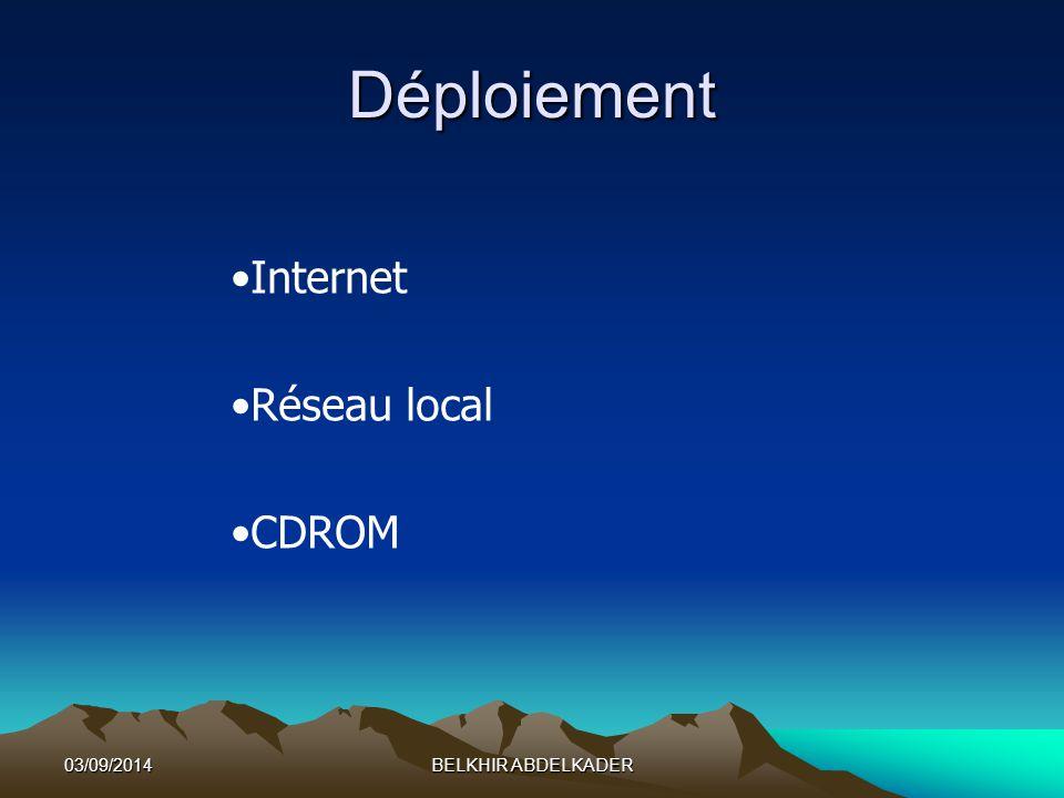 03/09/2014BELKHIR ABDELKADER Déploiement Internet Réseau local CDROM