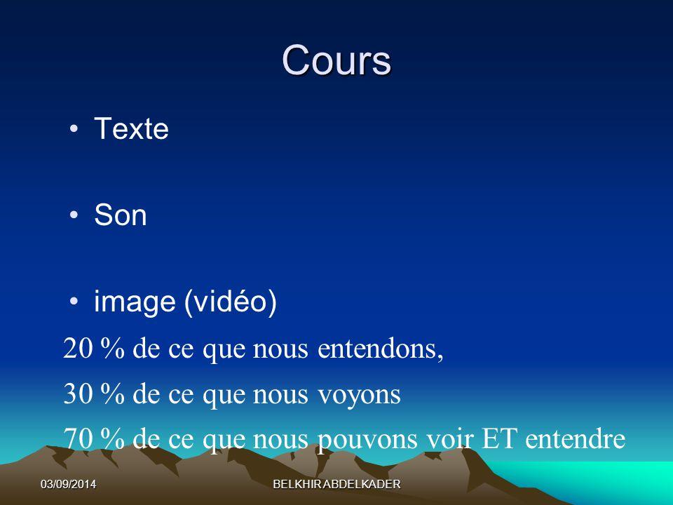 03/09/2014BELKHIR ABDELKADER Cours Texte Son image (vidéo) 20 % de ce que nous entendons, 30 % de ce que nous voyons 70 % de ce que nous pouvons voir ET entendre