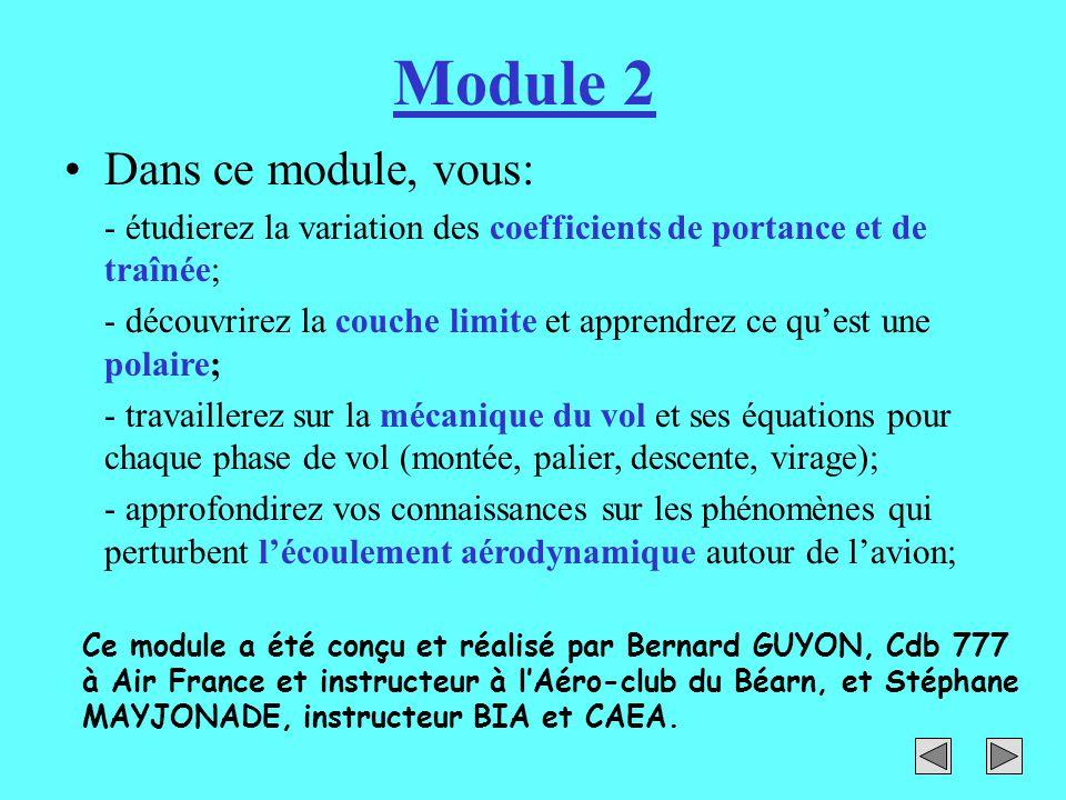 Module 2 Dans ce module, vous: - étudierez la variation des coefficients de portance et de traînée; - découvrirez la couche limite et apprendrez ce qu