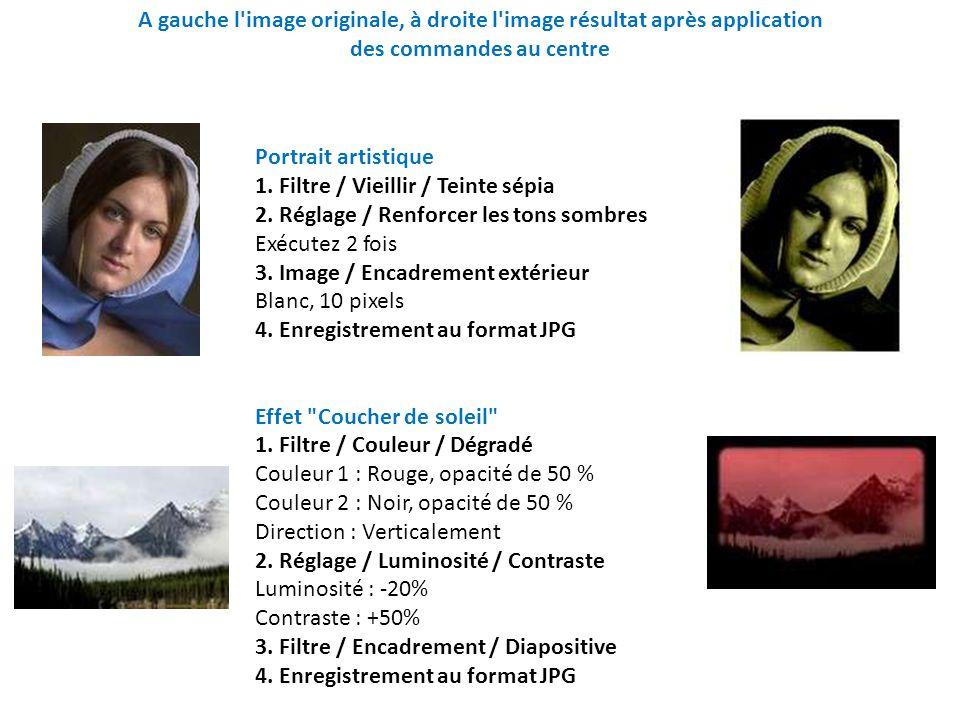 Bichromie et Transparence 1.Réglage / Bichromie Couleur1 : Noir, Couleur2 : Blanc Seuil : 123 2.