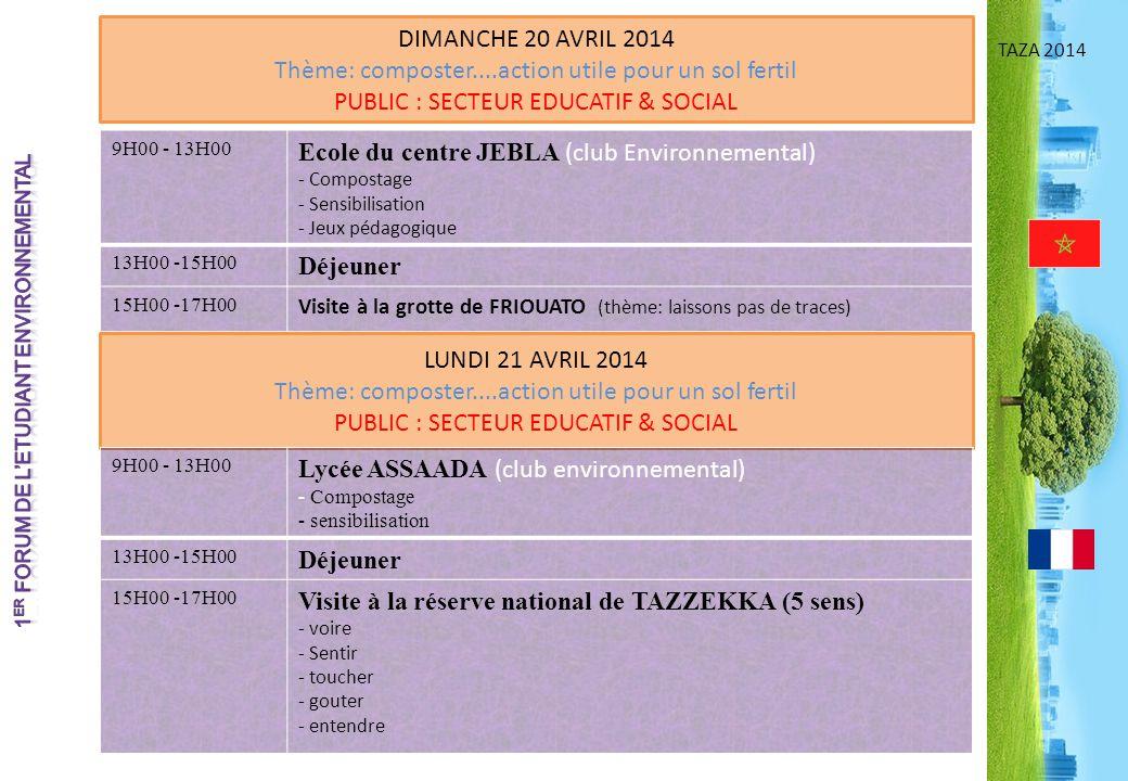 TAZA 2014 DIMANCHE 20 AVRIL 2014 Thème: composter....action utile pour un sol fertil PUBLIC : SECTEUR EDUCATIF & SOCIAL 9H00 - 13H00 Ecole du centre J