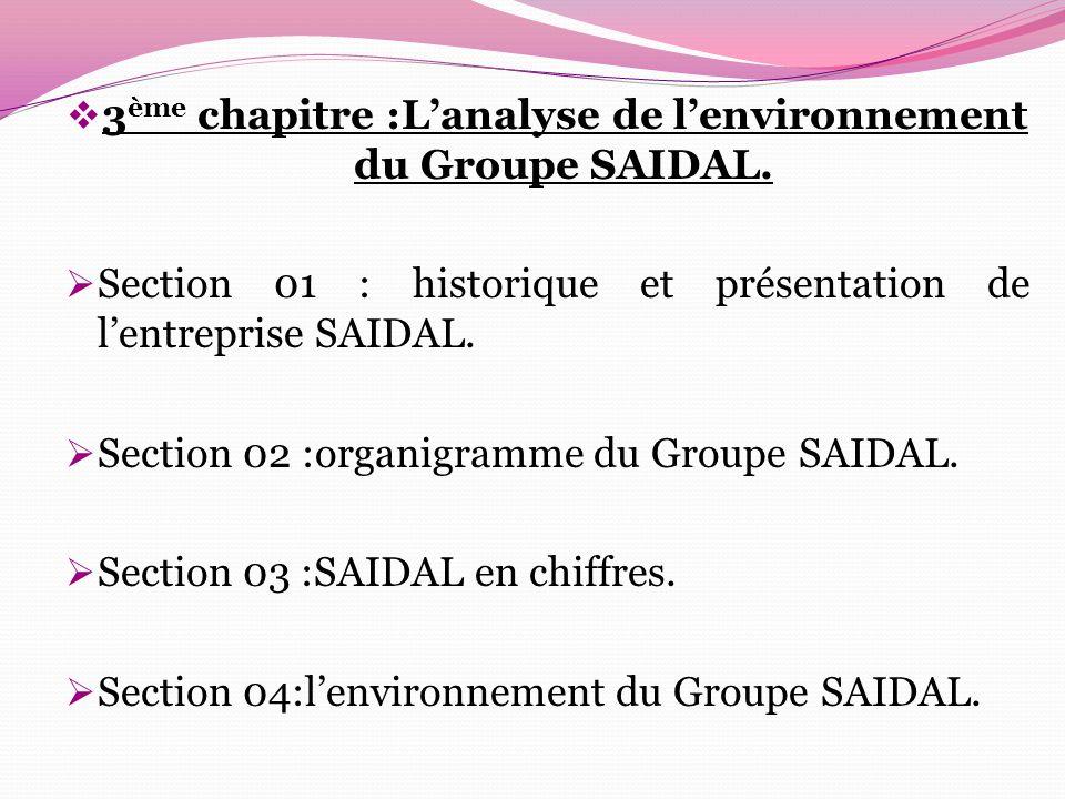  3 ème chapitre :L'analyse de l'environnement du Groupe SAIDAL.  Section 01 : historique et présentation de l'entreprise SAIDAL.  Section 02 :organ