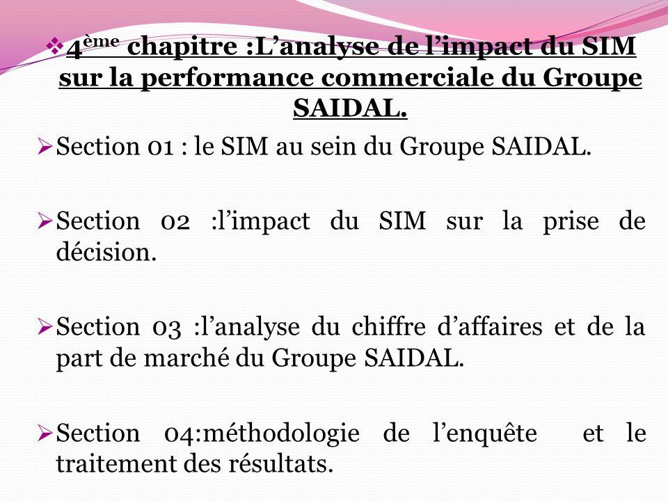  4 ème chapitre :L'analyse de l'impact du SIM sur la performance commerciale du Groupe SAIDAL.  Section 01 : le SIM au sein du Groupe SAIDAL.  Sect