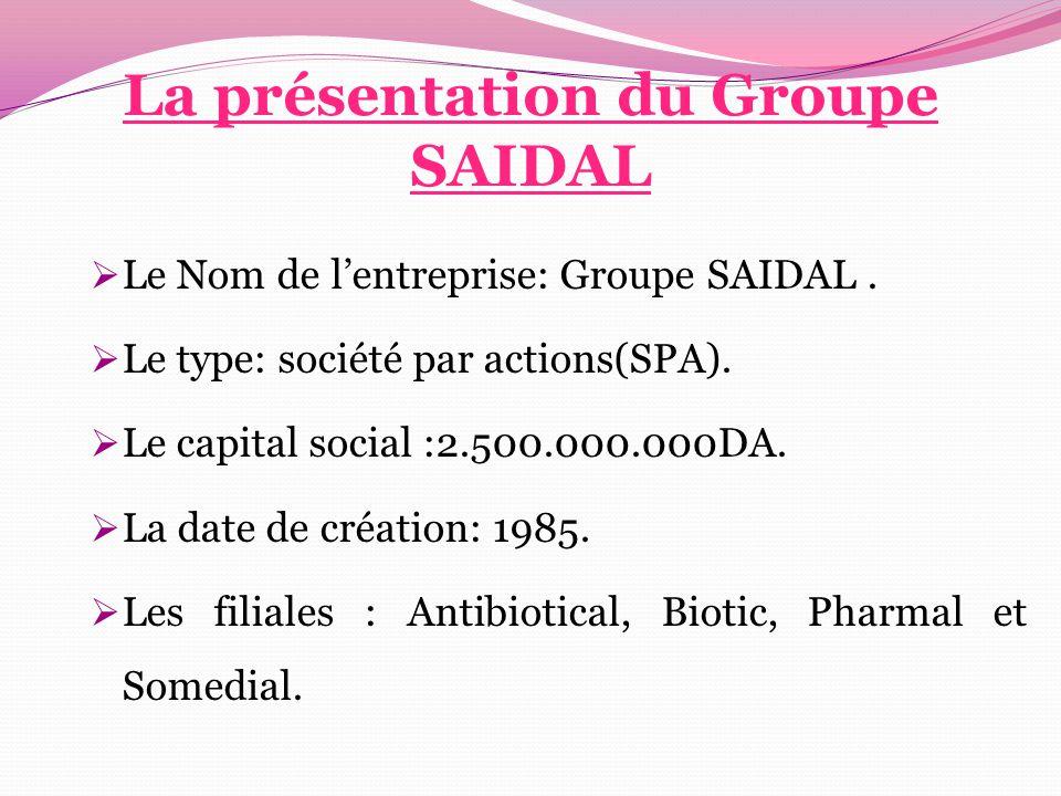 La présentation du Groupe SAIDAL  Le Nom de l'entreprise: Groupe SAIDAL.  Le type: société par actions(SPA).  Le capital social :2.500.000.000DA. 