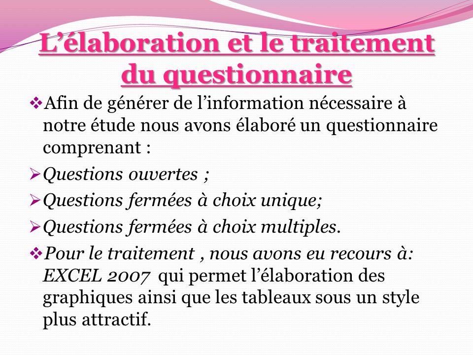 L'élaboration et le traitement du questionnaire  Afin de générer de l'information nécessaire à notre étude nous avons élaboré un questionnaire compre