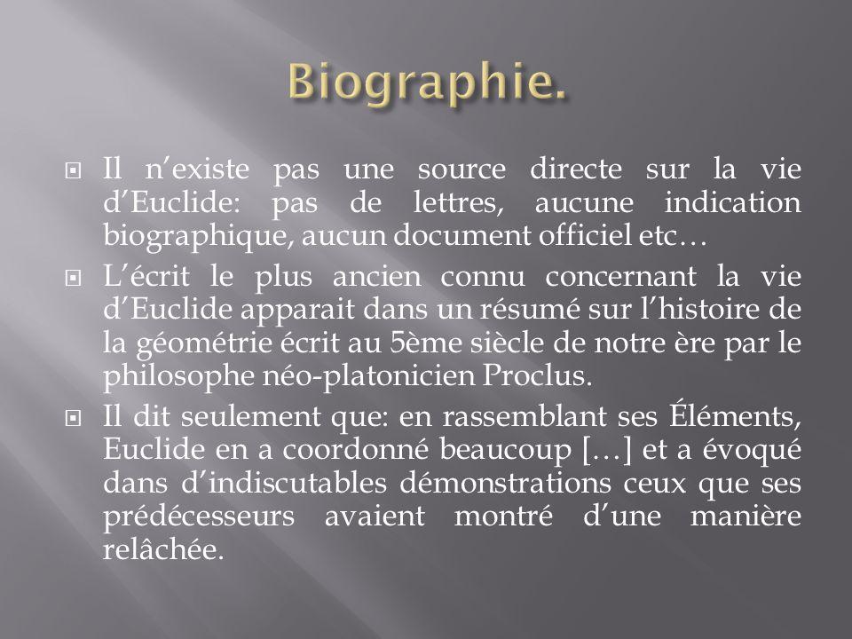  Il n'existe pas une source directe sur la vie d'Euclide: pas de lettres, aucune indication biographique, aucun document officiel etc…  L'écrit le p