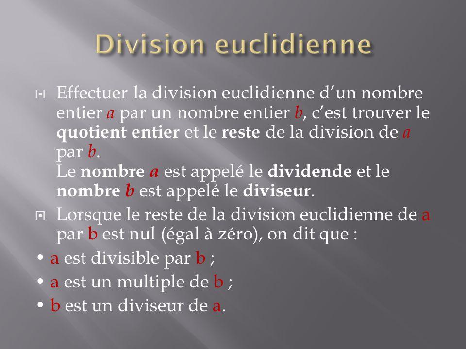  Effectuer la division euclidienne d'un nombre entier a par un nombre entier b, c'est trouver le quotient entier et le reste de la division de a par