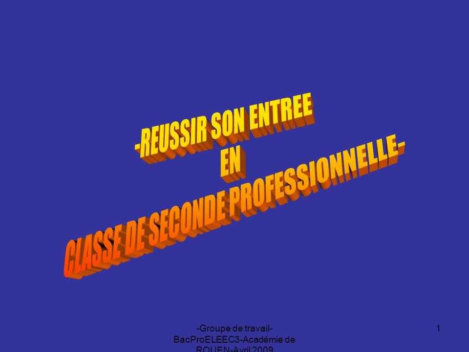 -Groupe de travail- BacProELEEC3-Académie de ROUEN-Avril 2009 1