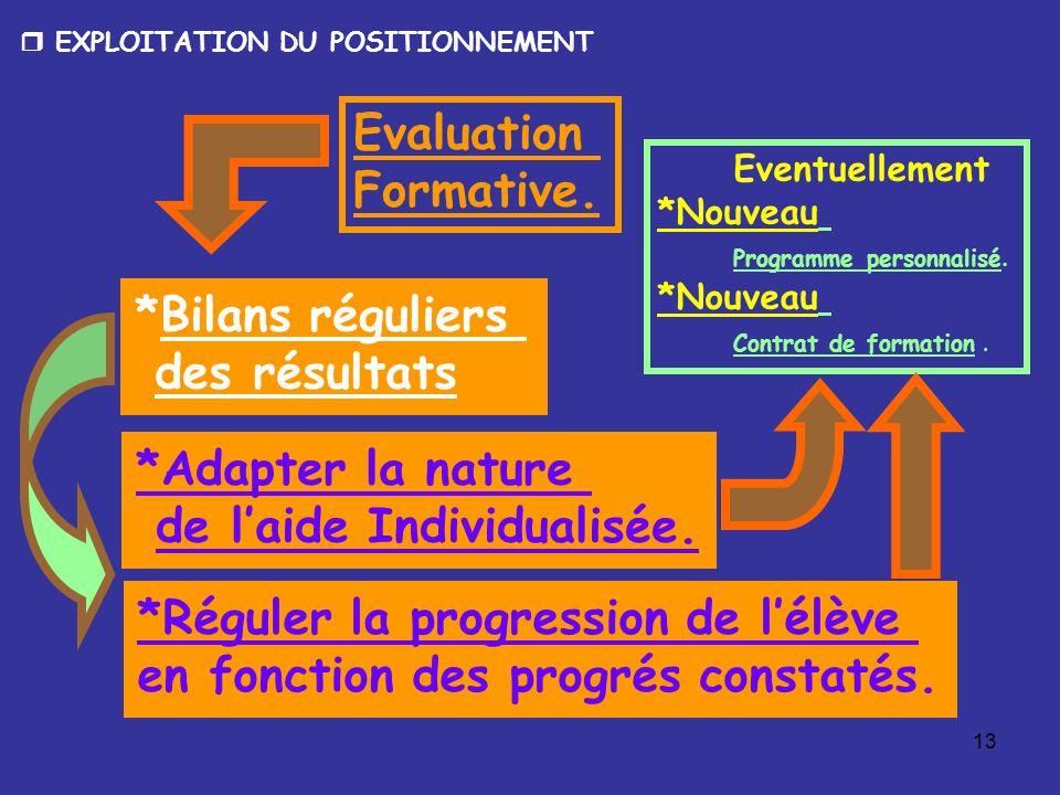13 Evaluation Formative. *Réguler la progression de l'élève en fonction des progrés constatés.