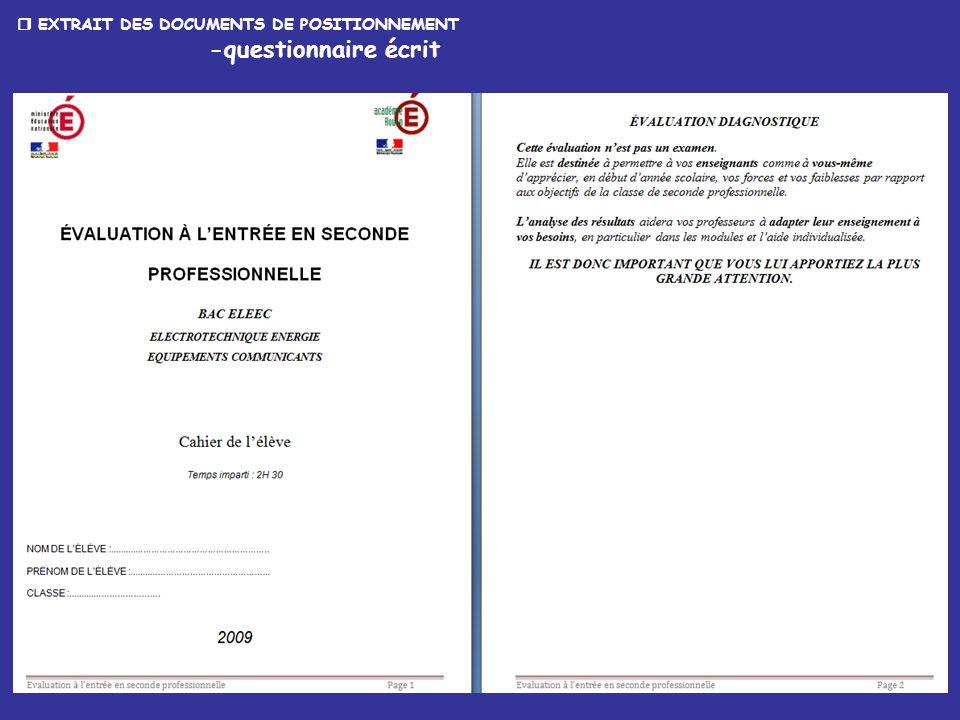 14  EXTRAIT DES DOCUMENTS DE POSITIONNEMENT -questionnaire écrit