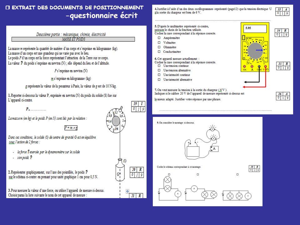  EXTRAIT DES DOCUMENTS DE POSITIONNEMENT -questionnaire écrit