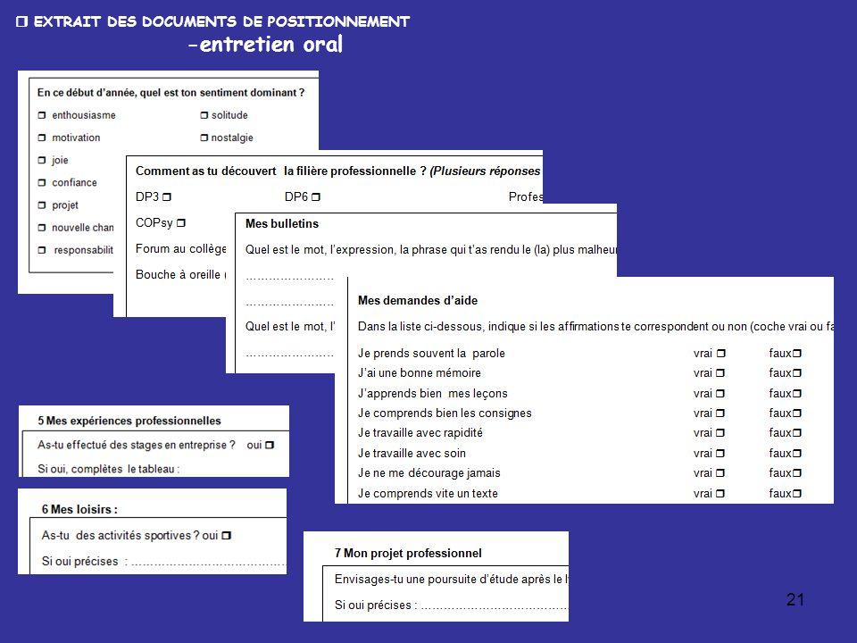 21  EXTRAIT DES DOCUMENTS DE POSITIONNEMENT -entretien oral
