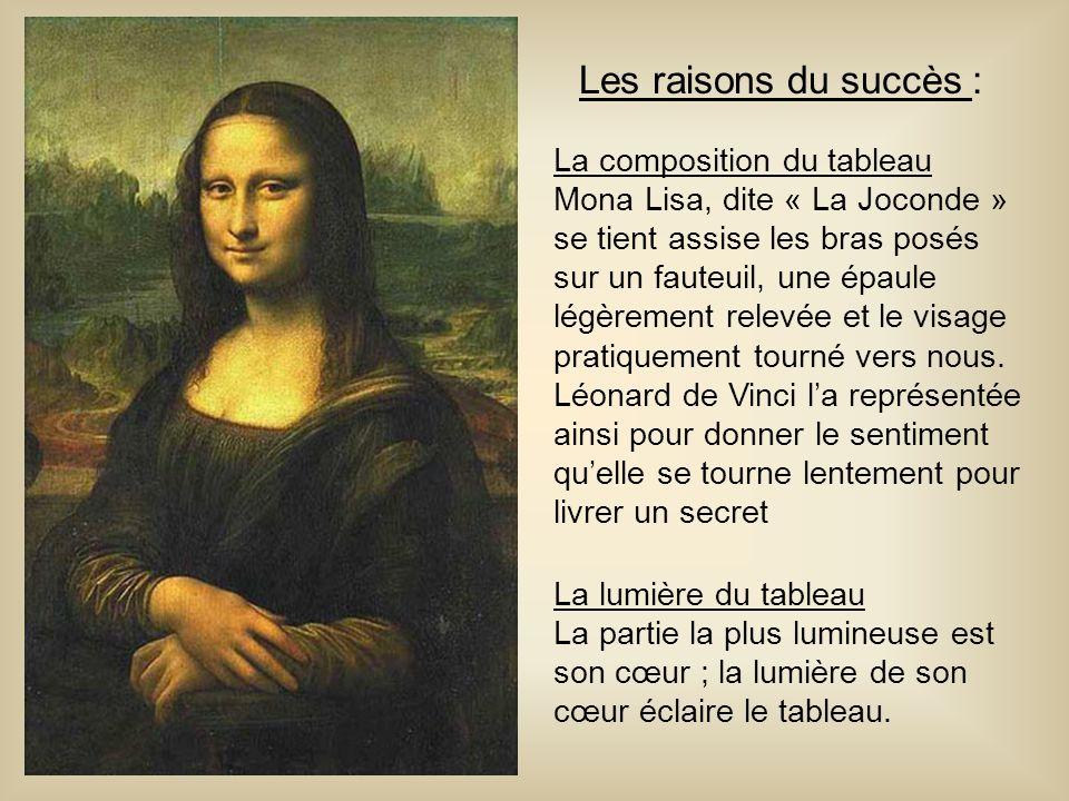 Les raisons du succès : La composition du tableau Mona Lisa, dite « La Joconde » se tient assise les bras posés sur un fauteuil, une épaule légèrement