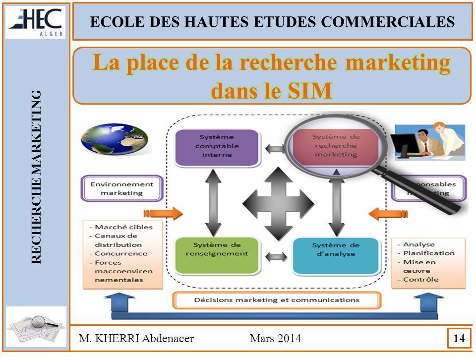 ECOLE DES HAUTES ETUDES COMMERCIALES RECHERCHE MARKETING M. KHERRI Abdenacer Mars 2014 14