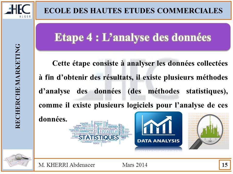 ECOLE DES HAUTES ETUDES COMMERCIALES RECHERCHE MARKETING M. KHERRI Abdenacer Mars 2014 15 Cette étape consiste à analyser les données collectées à fin