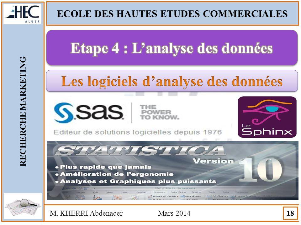 ECOLE DES HAUTES ETUDES COMMERCIALES RECHERCHE MARKETING M. KHERRI Abdenacer Mars 2014 18