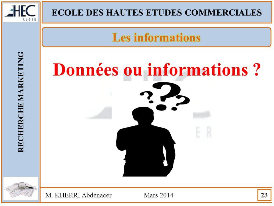 ECOLE DES HAUTES ETUDES COMMERCIALES RECHERCHE MARKETING M. KHERRI Abdenacer Mars 2014 23 Données ou informations ?