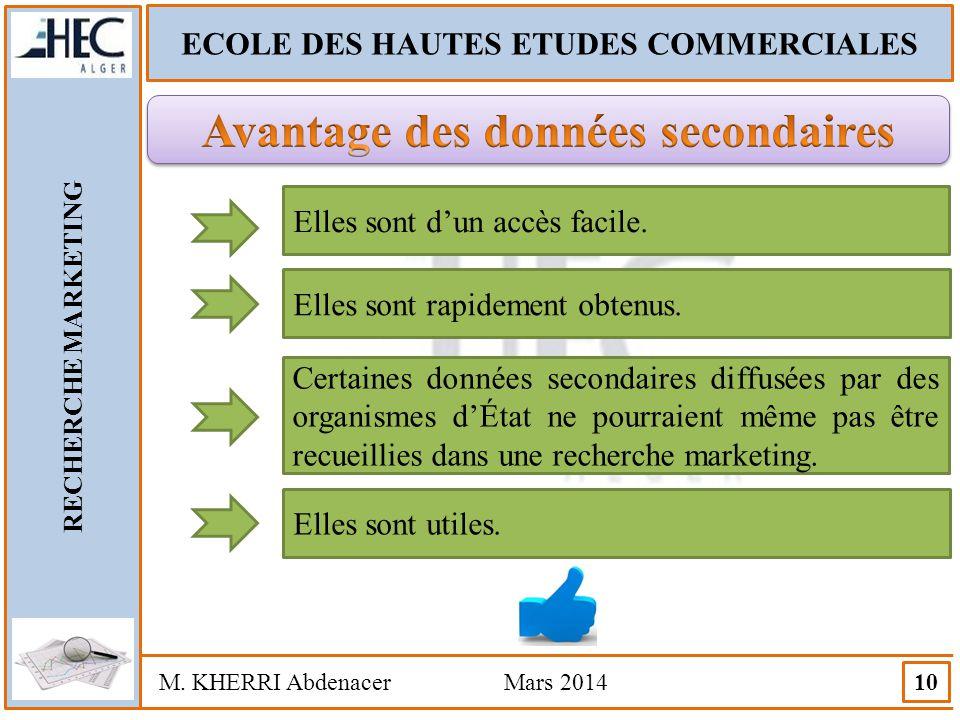 ECOLE DES HAUTES ETUDES COMMERCIALES RECHERCHE MARKETING M. KHERRI Abdenacer Mars 2014 10 Elles sont d'un accès facile. Elles sont rapidement obtenus.