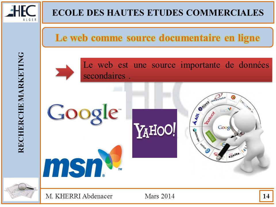 ECOLE DES HAUTES ETUDES COMMERCIALES RECHERCHE MARKETING M. KHERRI Abdenacer Mars 2014 14 Le web est une source importante de données secondaires.