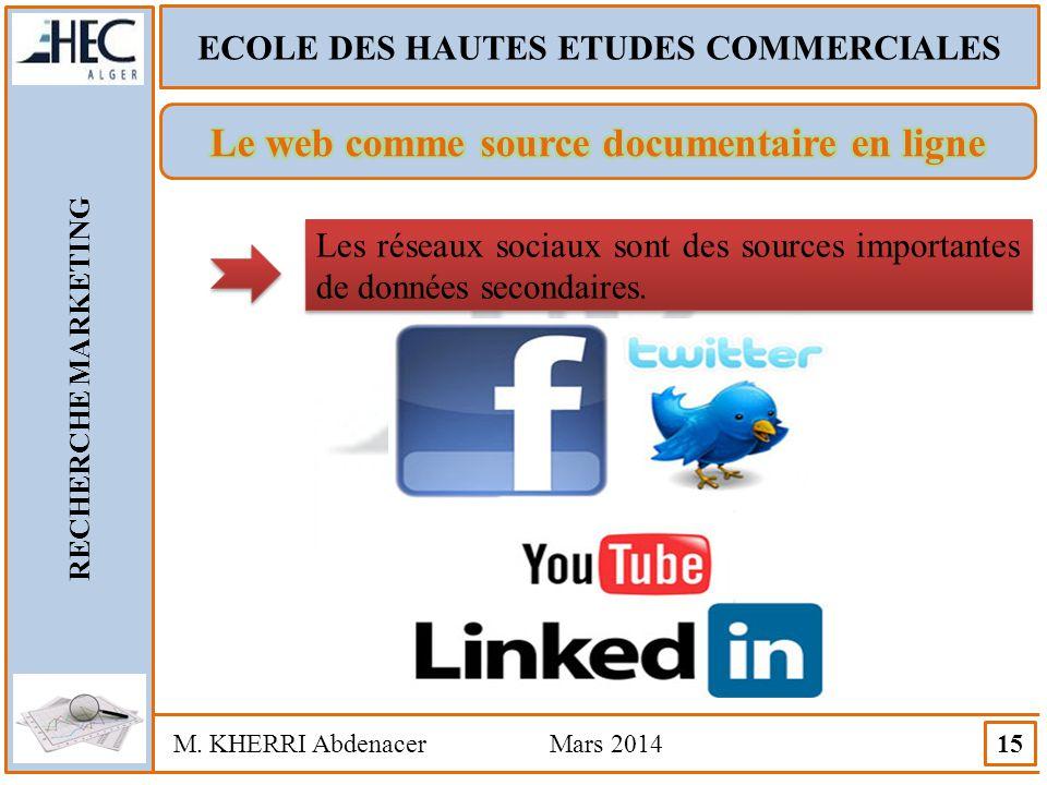 ECOLE DES HAUTES ETUDES COMMERCIALES RECHERCHE MARKETING M. KHERRI Abdenacer Mars 2014 15 Les réseaux sociaux sont des sources importantes de données