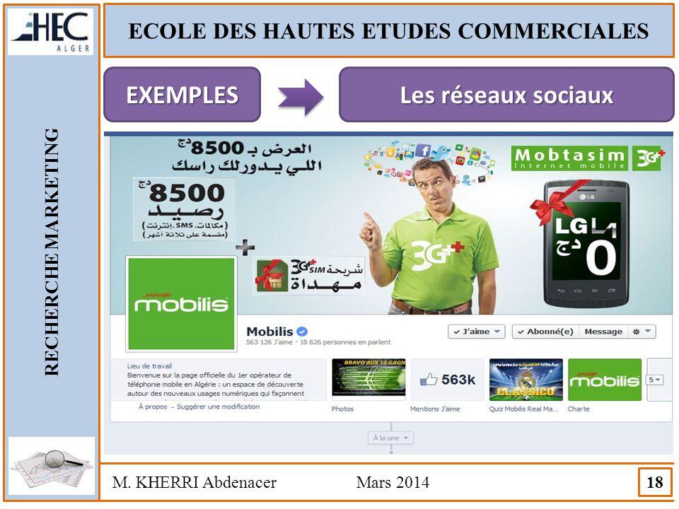 ECOLE DES HAUTES ETUDES COMMERCIALES RECHERCHE MARKETING M. KHERRI Abdenacer Mars 2014 18 EXEMPLES Les réseaux sociaux