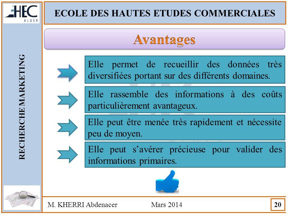 ECOLE DES HAUTES ETUDES COMMERCIALES RECHERCHE MARKETING M. KHERRI Abdenacer Mars 2014 20 Elle permet de recueillir des données très diversifiées port