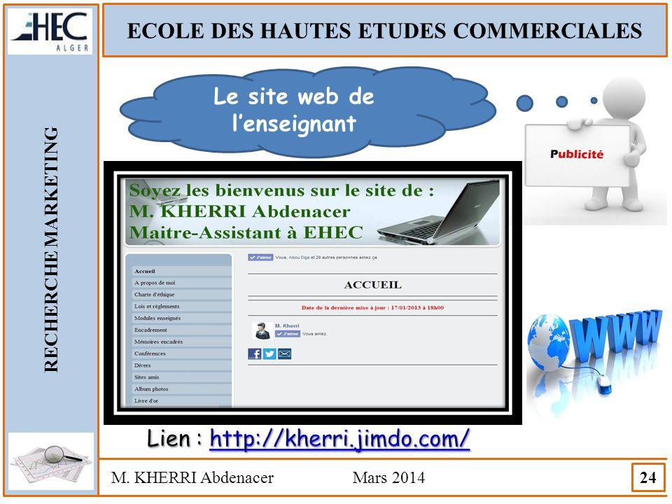 ECOLE DES HAUTES ETUDES COMMERCIALES RECHERCHE MARKETING M. KHERRI Abdenacer Mars 2014 24 Le site web de l'enseignant