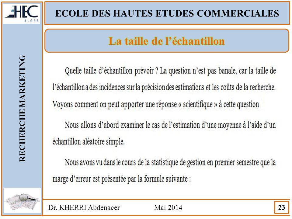 ECOLE DES HAUTES ETUDES COMMERCIALES RECHERCHE MARKETING Dr. KHERRI Abdenacer Mai 2014 23