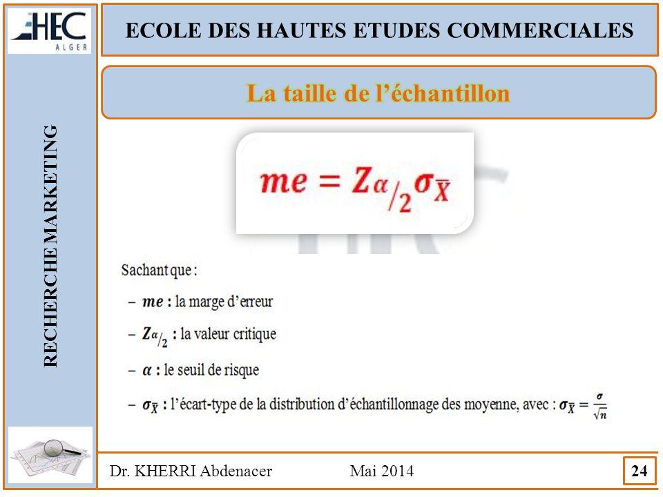 ECOLE DES HAUTES ETUDES COMMERCIALES RECHERCHE MARKETING Dr. KHERRI Abdenacer Mai 2014 24