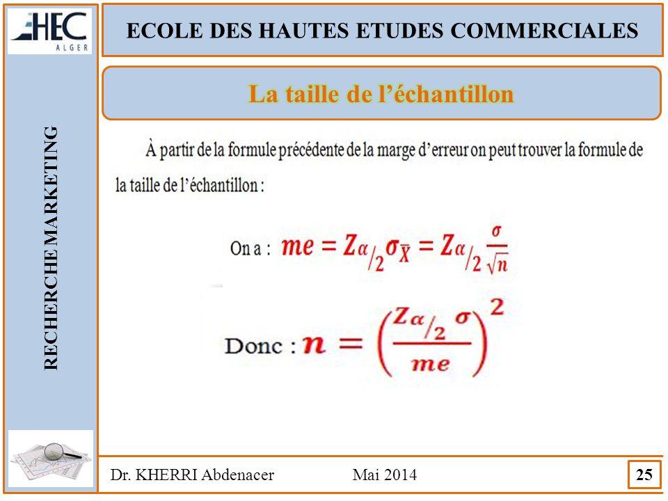 ECOLE DES HAUTES ETUDES COMMERCIALES RECHERCHE MARKETING Dr. KHERRI Abdenacer Mai 2014 25