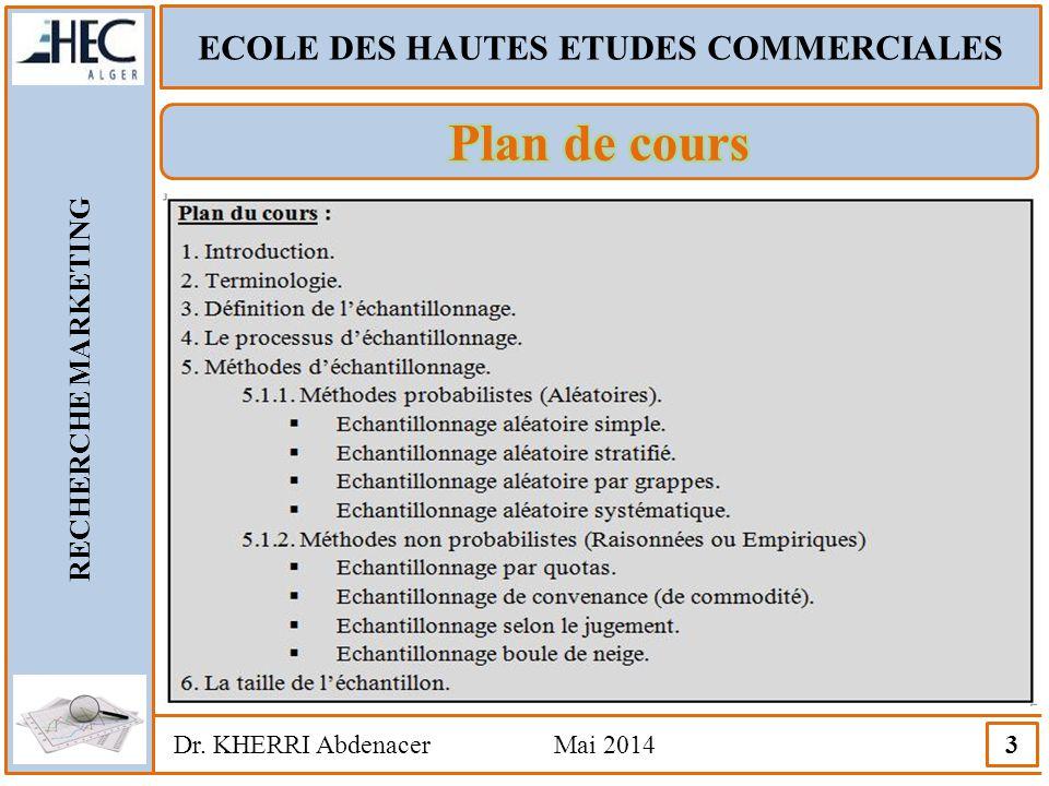 ECOLE DES HAUTES ETUDES COMMERCIALES RECHERCHE MARKETING Dr. KHERRI Abdenacer Mai 2014 3
