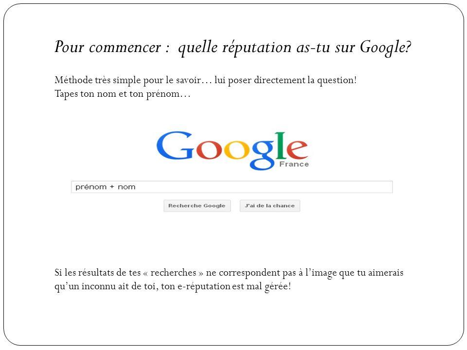 Pour commencer : quelle réputation as-tu sur Google? Méthode très simple pour le savoir… lui poser directement la question! Tapes ton nom et ton préno