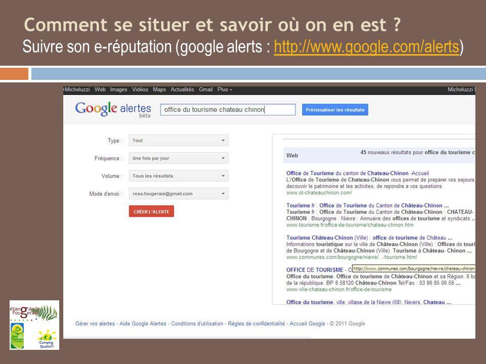 Comment se situer et savoir où on en est ? Suivre son e-réputation (google alerts : http://www.google.com/alerts)http://www.google.com/alerts