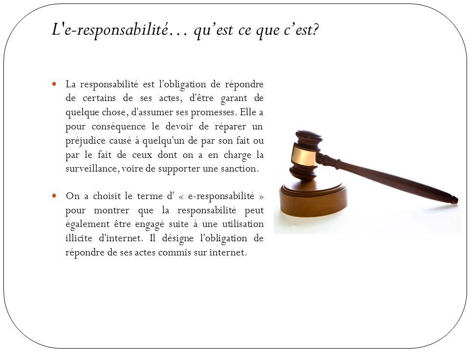 L'e-responsabilité… qu'est ce que c'est? La responsabilité est l'obligation de répondre de certains de ses actes, d'être garant de quelque chose, d'as