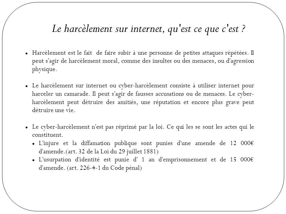 Les conséquences du cyber-harcèlement Le cyber-harcèlement à un impact sur les résultats scolaire de la victime ET du harceleur.