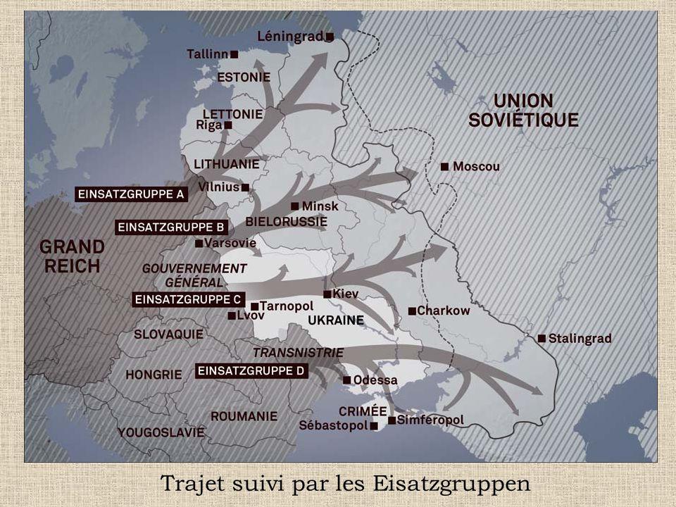 Trajet suivi par les Eisatzgruppen