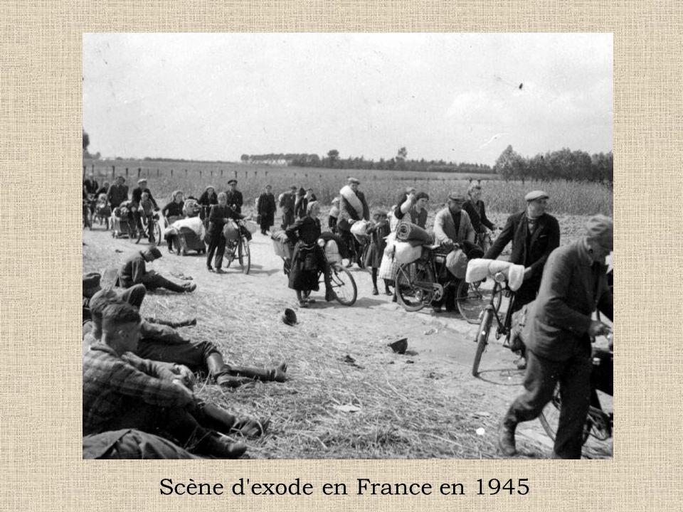 Scène d exode en France en 1945