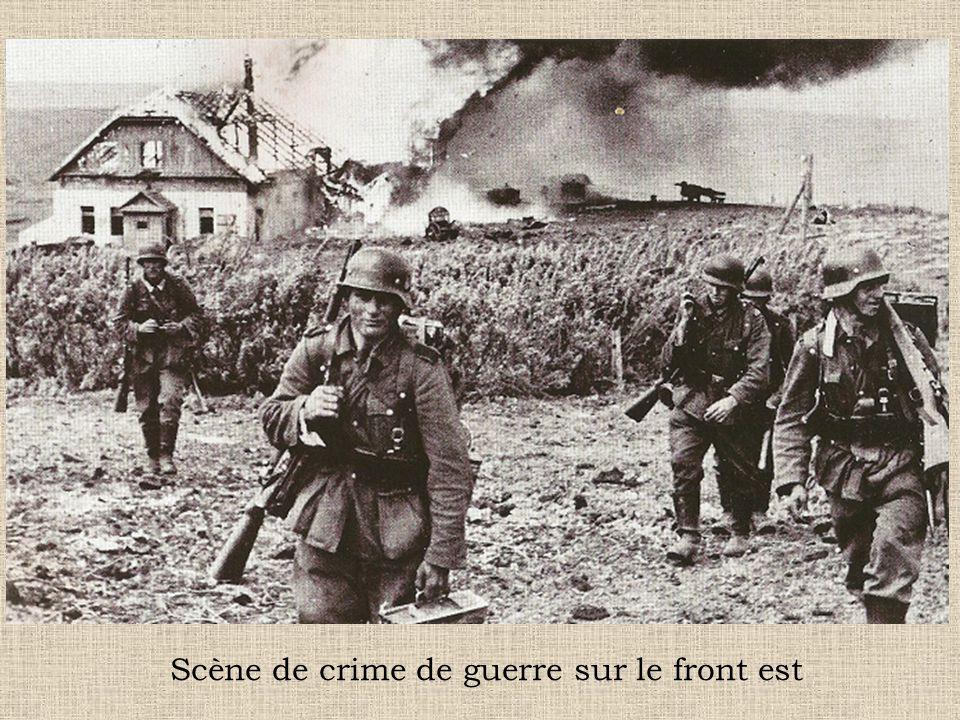 Scène de crime de guerre sur le front est