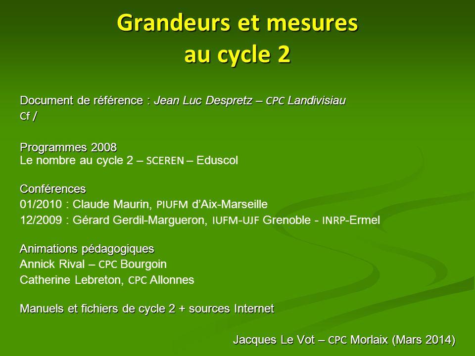 Grandeurs et mesures au cycle 2 Document de référence : Jean Luc Despretz – CPC Landivisiau Cf / Programmes 2008 Programmes 2008 Le nombre au cycle 2