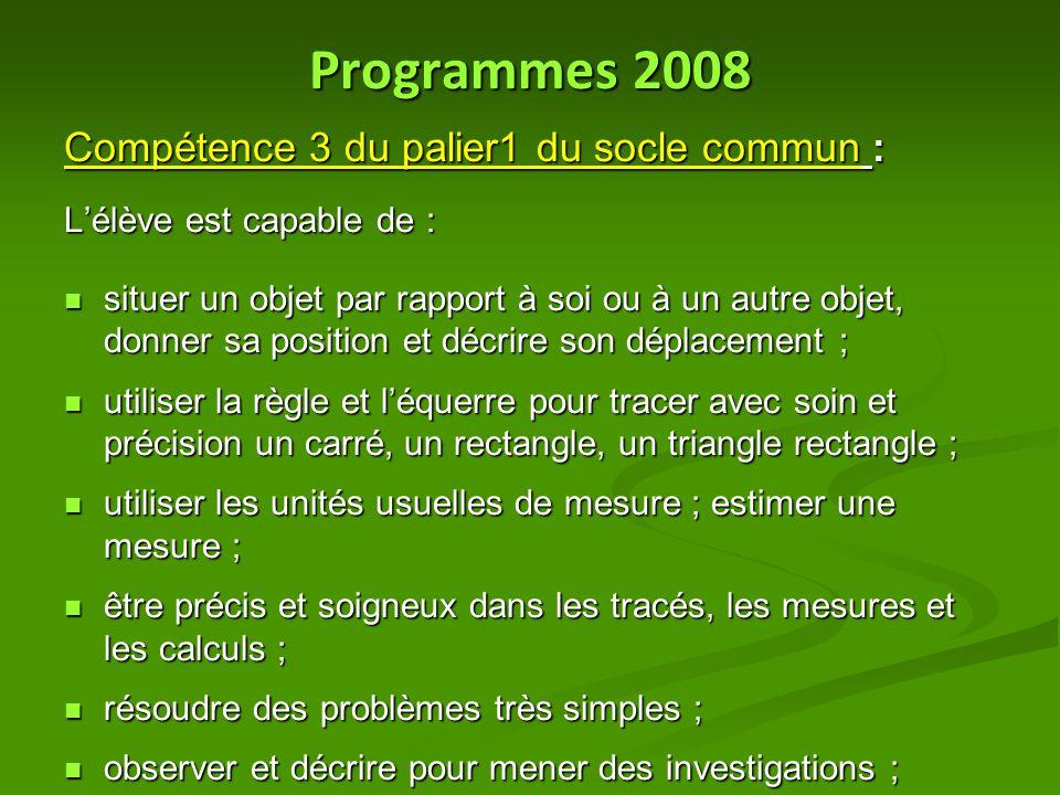 Programmes 2008 Compétence 3 du palier1 du socle commun : L'élève est capable de : situer un objet par rapport à soi ou à un autre objet, donner sa po