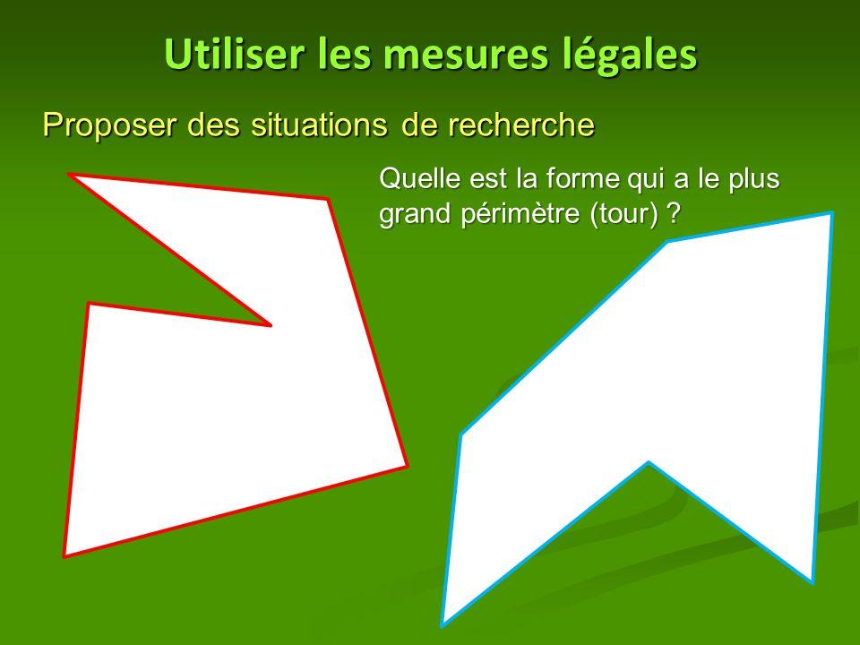 Utiliser les mesures légales Proposer des situations de recherche Quelle est la forme qui a le plus grand périmètre (tour) ?