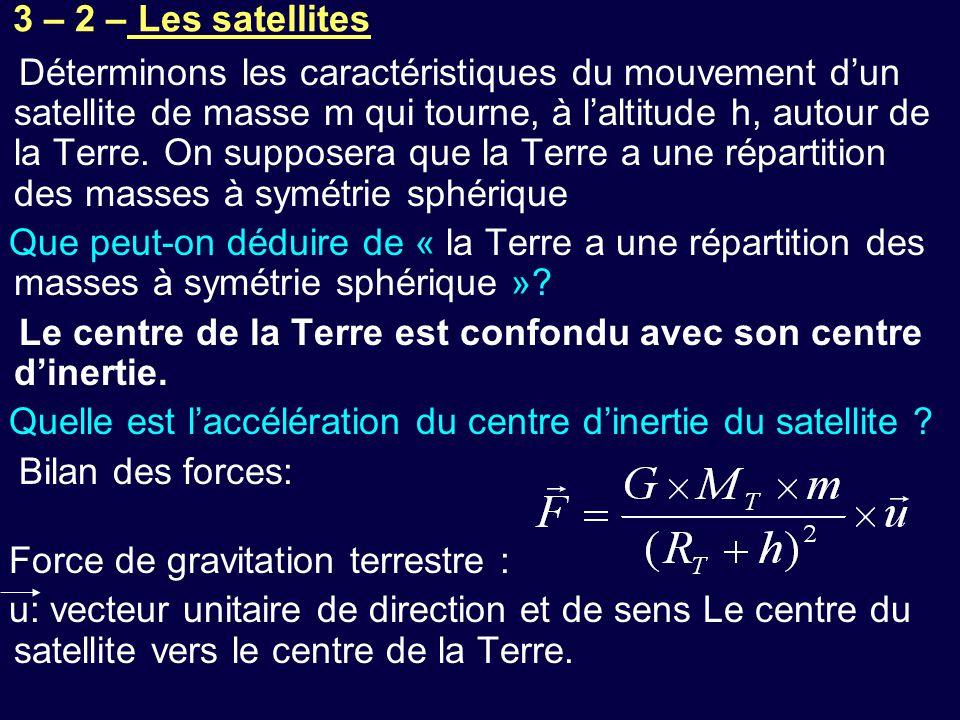 3 – 2 – Les satellites Déterminons les caractéristiques du mouvement d'un satellite de masse m qui tourne, à l'altitude h, autour de la Terre. On supp