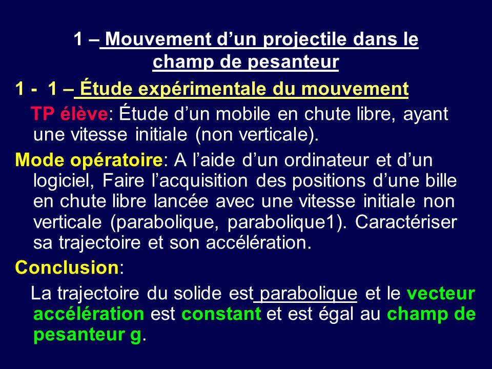1 – Mouvement d'un projectile dans le champ de pesanteur 1 - 1 – Étude expérimentale du mouvement TP élève: Étude d'un mobile en chute libre, ayant un