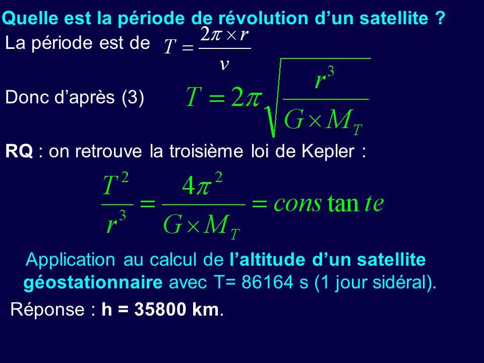 - Quelle est la période de révolution d'un satellite ? La période est de Donc d'après (3) RQ : on retrouve la troisième loi de Kepler : Application au