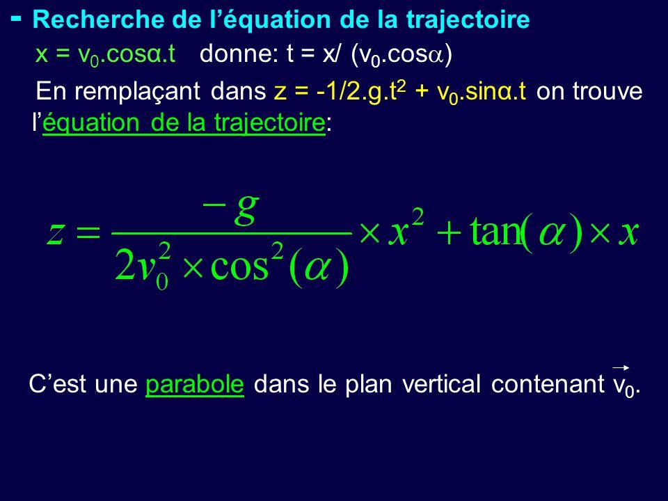 - Recherche de l'équation de la trajectoire x = v 0.cosα.t donne: t = x/ (v 0.cos  ) En remplaçant dans z = -1/2.g.t 2 + v 0.sinα.t on trouve l'équat