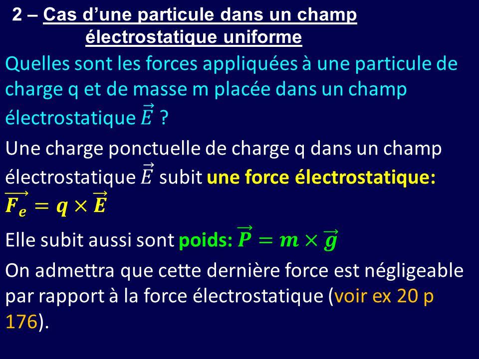 2 – Cas d'une particule dans un champ électrostatique uniforme