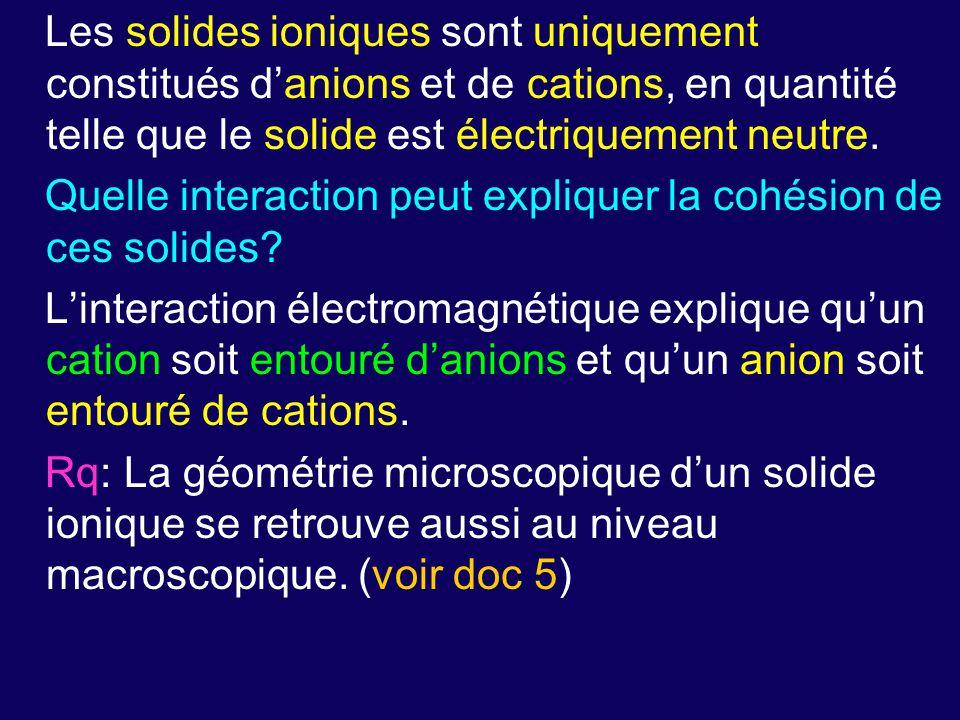 Les solides ioniques sont uniquement constitués d'anions et de cations, en quantité telle que le solide est électriquement neutre. Quelle interaction